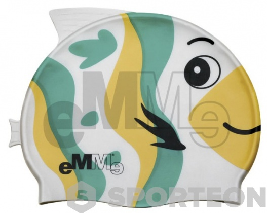 Children's swimming cap Emme green-yellow fish