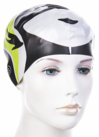 Children's swimming cap Emme black-green fish