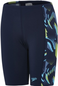 Speedo Alphablast Allover Panel Jammer Boy Navy/Turquoise/Apple Green