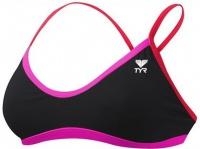 Tyr Solid Brites Crosscutfit Bikini Top Black/Pink/Red