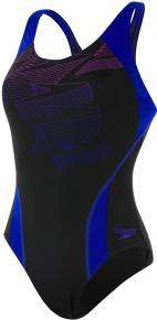 Speedo Boom Placement Racerback Black/Chroma Blue/Neon Orchid