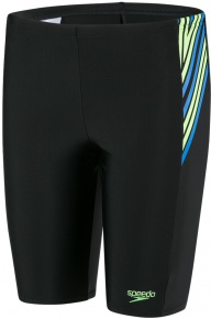 Speedo Logo Panel Jammer Boy Black/Bright Zest/Brilliant Blue
