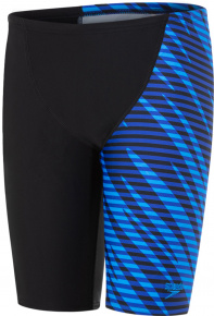 Speedo Allover V Cut Panel Jammer Boy Black/Chroma Blue/Brilliant Blue
