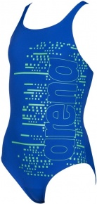 Arena Little Stars V Back One Piece Junior Neon Blue/Golf Green